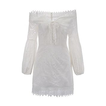 Who's That Girl White Eyelet Lace Long Flare Sleeve Off The Shoulder V Neck Casual Mini Dress