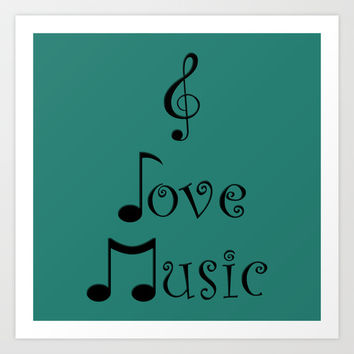I Love Music - Tribal Teal Art Print by Moonshine Paradise