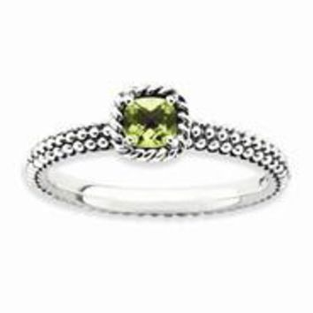 Sterling Silver Checker-cut Peridot Antiqued Ring