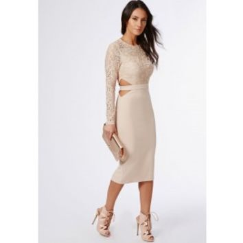 Missguided - Clemenca Lace Long Sleeve Cut Out Midi Dress Nude