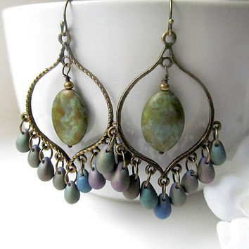 Bronze Iris Chandelier Earrings, Green Purple Bohemian Hoops, Large Boho Dangles,Boho Chic Jewelry, Gypsy Jewelry