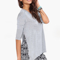 Grey Side Slits Sleeved T-shirt