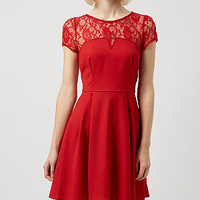Red Lace Insert Skater Dress