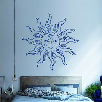 Mandala Wall Decal Ethnic Sunshine Stickers Sun Vinyl Decals Boho Decals Bedroom Art Mural Home Interior Design Bohemian Bedding Decor KY128