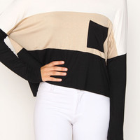 Colorblock long-Sleeve Crop Top