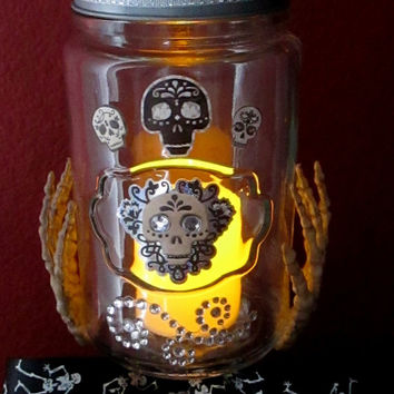 Halloween/Dia de los Muertos Apothecary Candy Jar ~ Glass Candy Jar on Glass Candle Holder base w/ Green Crystal Eyed Skull on Lid