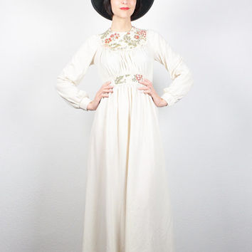 Vintage Hippie Dress Cream Ivory Floral Trim Hippie Wedding Dress 1970s Dress Maxi Dress Long Sleeve 70s Dress Boho Prairie S Small M Medium