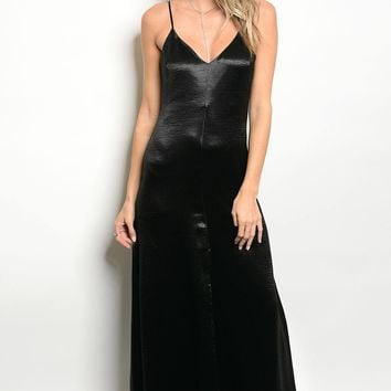 Ladies fashion sleeveless satin floor length maxi dress with a v neckline