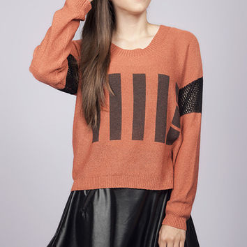 Long Sleeve Stacy Line Drive Rust Sweater