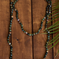 August Nights Stone Beaded Necklace (Green/Multi)