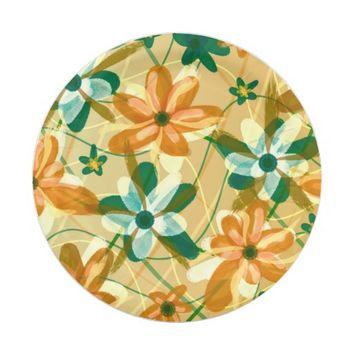 Copper Green Pastel Flowers Paper Plates