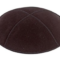Black Suede Leather Four Panel Kippah Yarmulkah Yarmulke