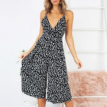 Fashion Dot Print Jumpsuit New Sexy V Neck Spaghetti Romper Female Casual High Street Holiday Jumpsuit