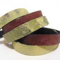 Leather colorful bracelet bandles 5 pcs unique by julishland