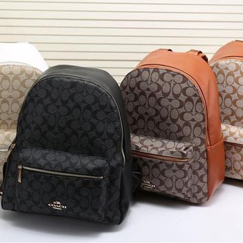 """Coach"" Women Casual Fashion Logo Print Backpack Large Capacity Travel Double Shoulder Bag Set Two-Piece"