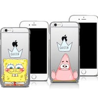 Best Friend Patrick Queen Spongebob Stars Transparent Hard Plastic Cover Case For iphone SE 4S 5 5S 5C 6 6S 6Plus 7 7Plus Cases