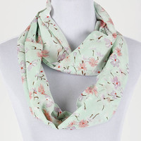 Blue Floral Print Infinity Scarf