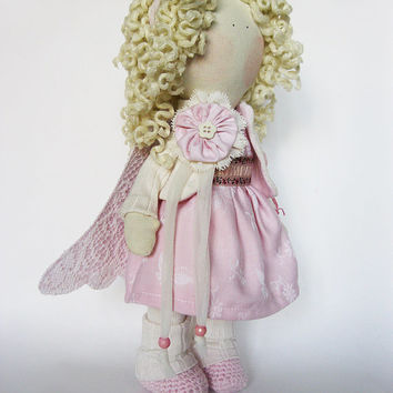 Textile art doll Pink Angel with heart,  fabric doll  gift for her