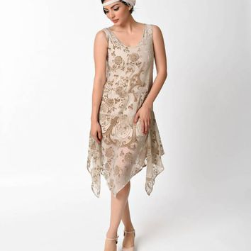 1920s Style Champagne Burnout Velvet Flapper Dress
