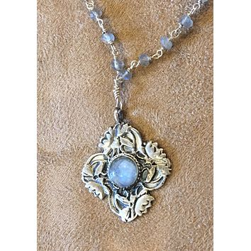 Sterling Silver Lotus Flower and Labradorite with labradorite and silver wire wrap chain-Art Nouveau Reproduction