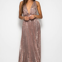 Low Cut Rose Gold Sequin Maxi Dress