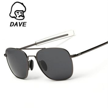 DAVE Polarized AO Sunglasses Men MILITARY American Optical Lens Aviation Pilot Sun Glasses Hot Ray Shades oculos de sol UV400