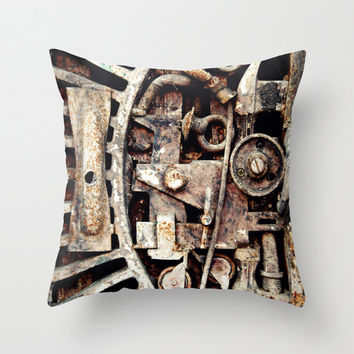 Pillow Cover, Clock Gear Parts, Rustic Industrial, Throw Pillow, Steampunk Decor Loft Bungalow Couch Bed Accent Interior, 16x16 18x18 20x20