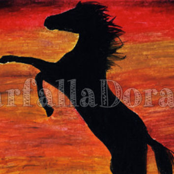Oil painting of horse abstract hand drawn, A4.