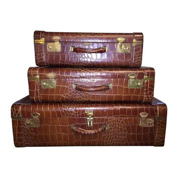 Pre-owned Croc Embossed Leather Luggage - 3 Piece Set