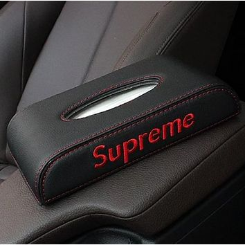 Supreme New fashion embroidery letters tissue box car paper towel box pumping inner armrest Black