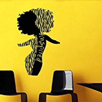 Wall Decal Vinyl Sticker African Woman Hair Style Beautiful Body Dance V158