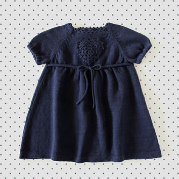 Knitted baby dress. Navy blue. Crochet heart. 100% cotton. READY TO SHIP size newborn.