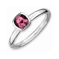 Sterling Silver Stackable Expressions Cushion Cut Pink Tourm. Ring: RingSize: 7