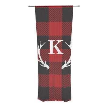 "KESS Original ""Red Plaid Monogram"" Decorative Sheer Curtain"