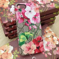 GUCCI Fashion Flower Print iPhone X iPhone XR iPhone XS iPhone XS MAX iPhone Phone Cover Case For iphone 6 6s 6plus 6s-plus 7 7plus