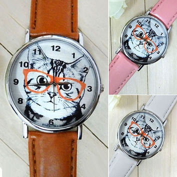 Vintage watches mens women's Cute Glasses Cat Dial Leather Strap Bracelet Analog Quartz Casual Wrist Watch = 5987856897