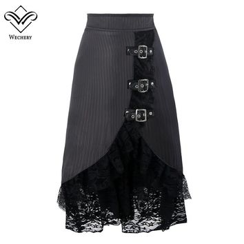 Wechery Women Skirts Sexy Long Maxi Steampunk Elastic Skirts Black Midi Gothic Corset Skirt Lace With Button A-LINE Skirts