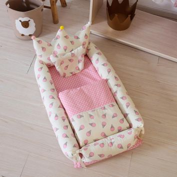 5 PCs Baby Crib With Pillow Newborn Mat Set Portable Folding Cradle Infant Bedding Sleep Travel Cots