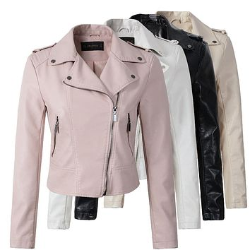 Motorcycle PU Leather Jacket Women Winter And Autumn New Fashion Coat 4 Color Zipper Outerwear jacket New Coat HOT