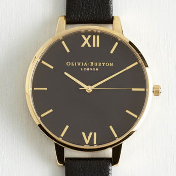 Luxe Classic Company Watch in Black Gold - Big by Olivia Burton from ModCloth