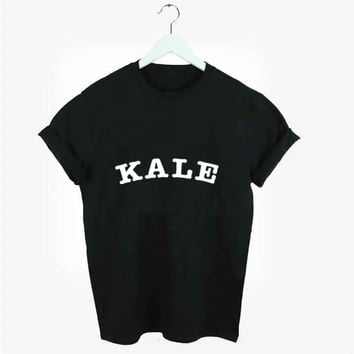 2017 New Fashion Style KALE letters Print T-shirt  Women T shirt for famale Cotton Lady Tees Hot Sale