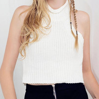 White Sleeveless Knitted Crop Top