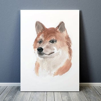 Akita Inu poster Watercolor dog print Cute nursery decor ACW129