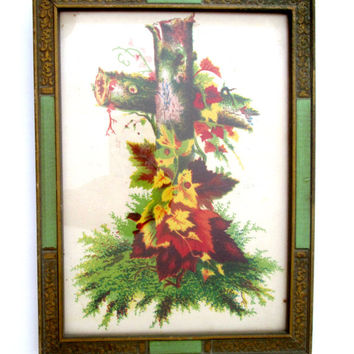 Antique Wood Frame Autumn Leaves Wooden Cross Drawing