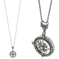 HauteChicWebstore Mariner's Compass Pendant Long Necklace Burnish Silver www.shophcw.com