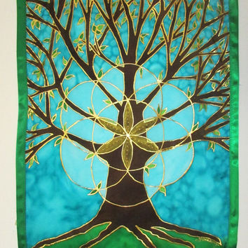 Tree of Life silk wallhanging, silk art, tree art. spiritual art, meditation art, sacred geometry,metaphysical art, new age art,