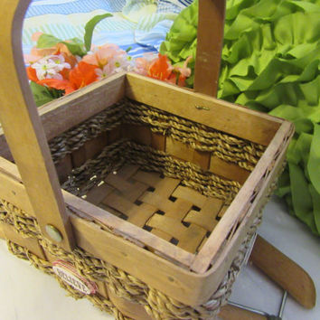 Small Square Woven Basket With Jute Woven Into the Basket - Dream, Hope, Love, and Believe Accents-Flower Girl Basket-Wedding-Gift-Storage