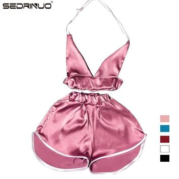 2016 Summer New Brand Women Sexy Deep V Bra Tops and Boxer Pants Sets Women Night Club party Satin Tracksuits Two Pieces Sets