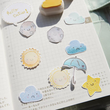 Today's Forecast - Planner Stamps (Photopolymer Clear Stamps) Weather Stamp, Forecast Stamp, Cloud Stamp, Rainbow Stamp, Moon Stamp