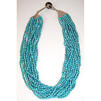 Cotton and Glass Handmade Turquoise Naga Necklace (India) | Overstock.com